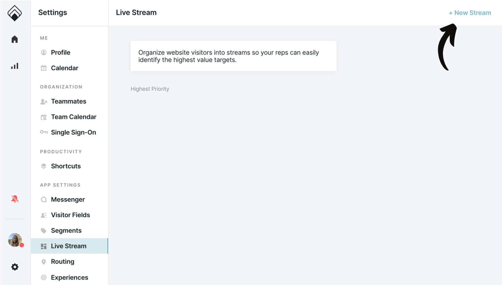 The Live Stream Section of the Account Settings with an arrow pointing to +New Stream