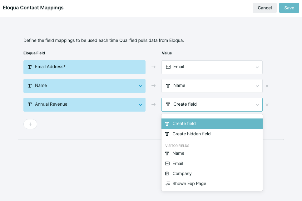 Dropdown showing how an Eloqua field can be mapped to an existing field or a new corresponding field can be created
