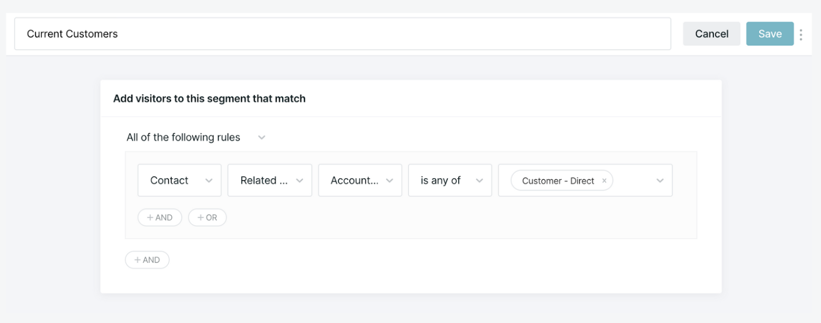 Segment builder identifying a visitor as a current customer if the contact's related account is Customer-Direct