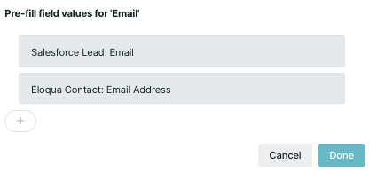 Visitor fields showing prefills from the Salesforce then Eloqua email fields