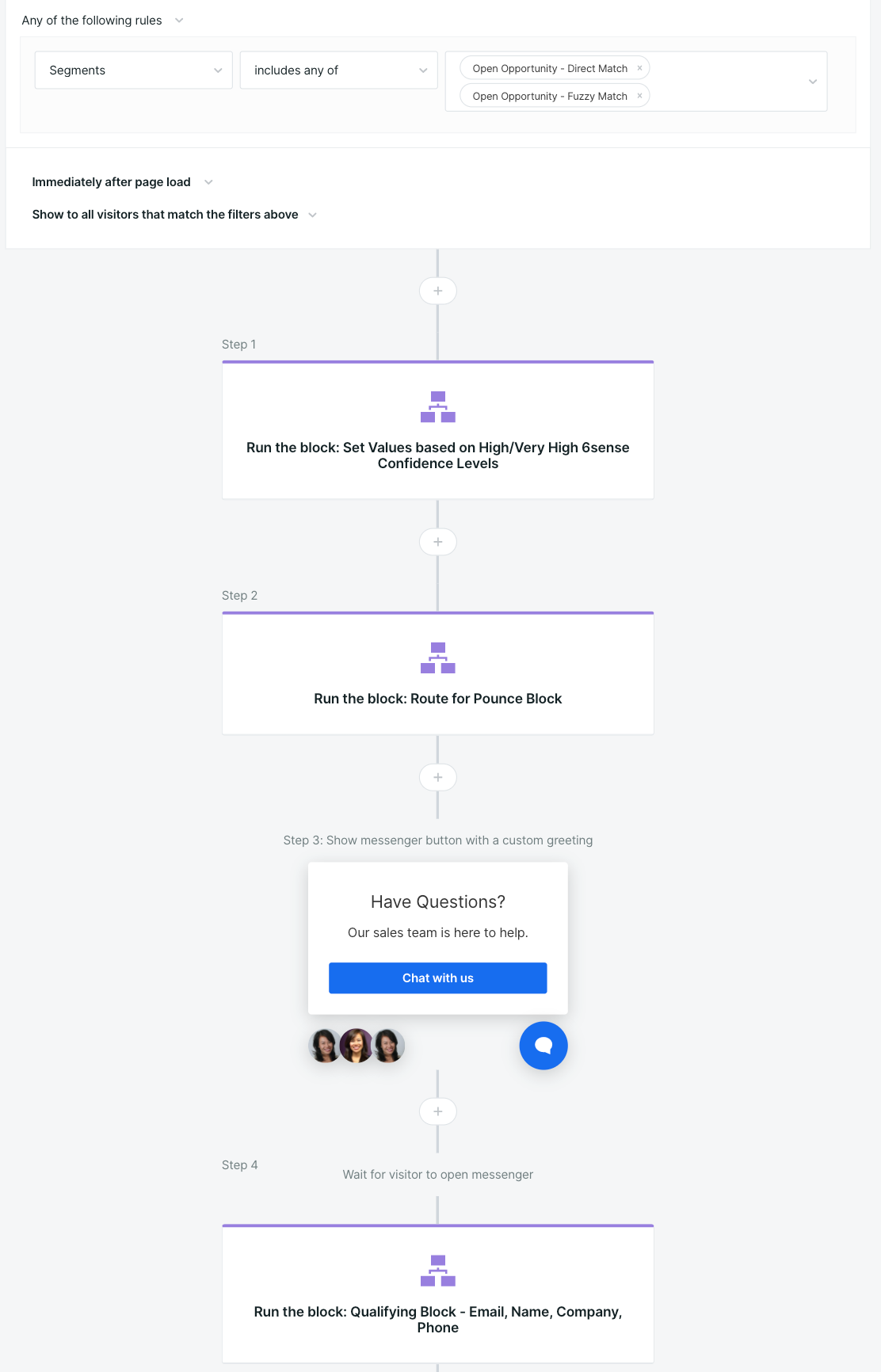 Using blocks to check confidence scores in Qualified within the Experience Builder