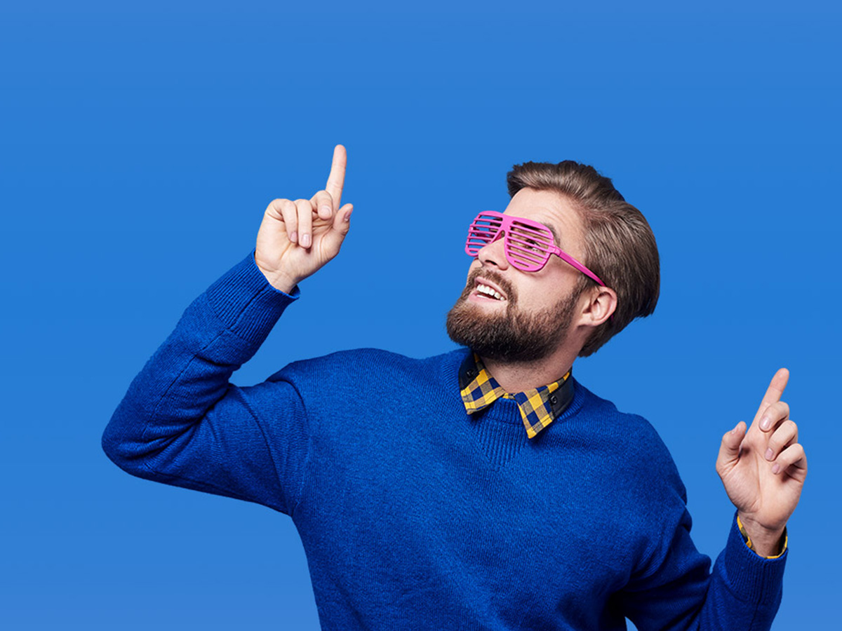 Man Pointing Up With Sunglasses