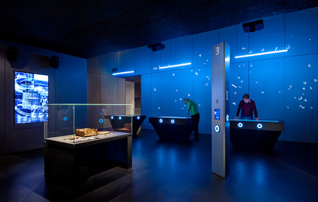 Photo of SPYSCAPE exhibit on encryption