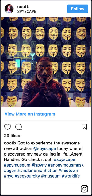 Screenshot of Instagram post from people having fun at SPYSCAPE