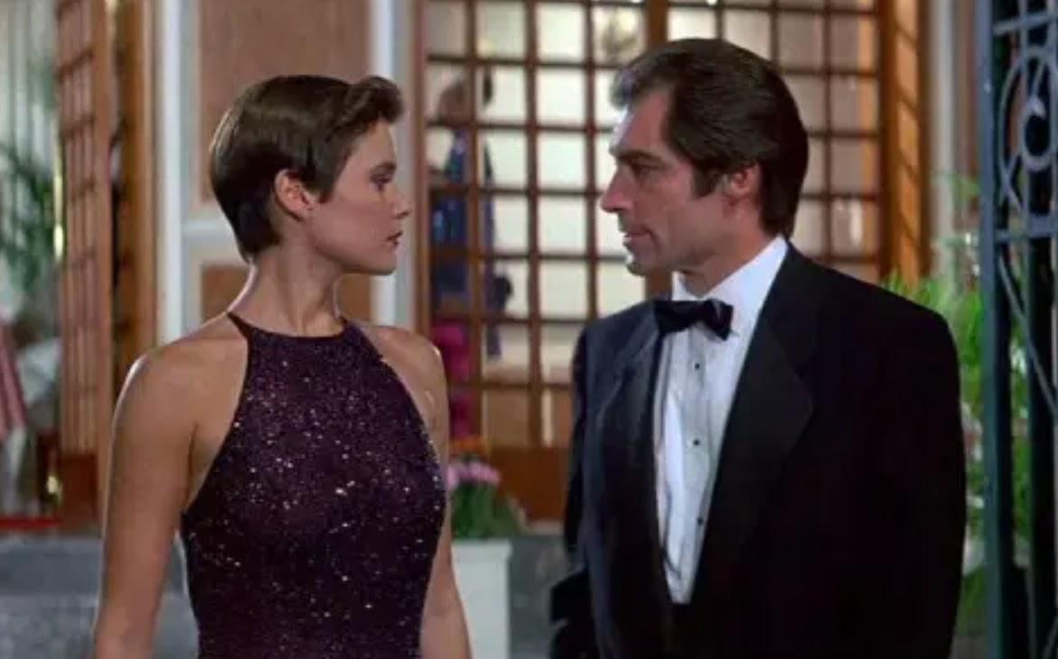 Carey Lowell with Timothy Dalton as James Bond