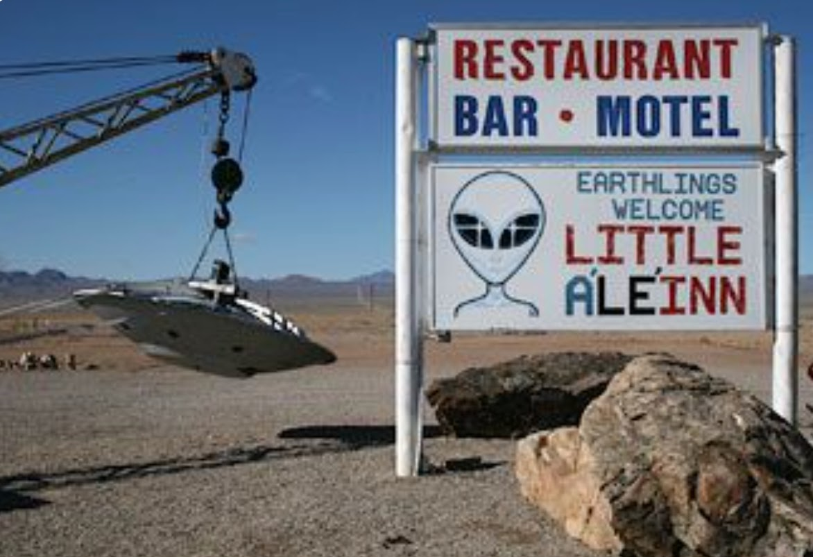 Area 51 for tourists, restaurant and bar sign with alien