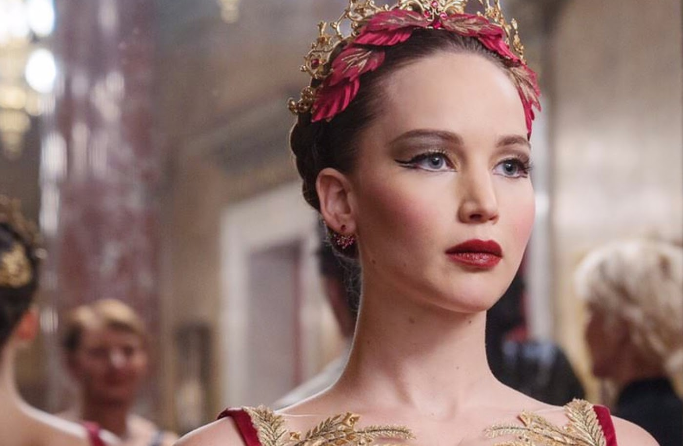 Jennifer Lawrence in the movie Red Sparrow