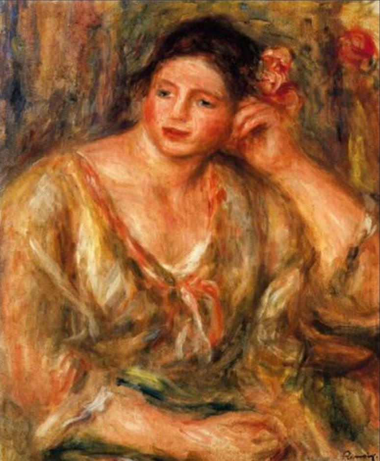 Madeleine Leaning on Her Elbow with Flowers in Her Hair by Renoir, 1918