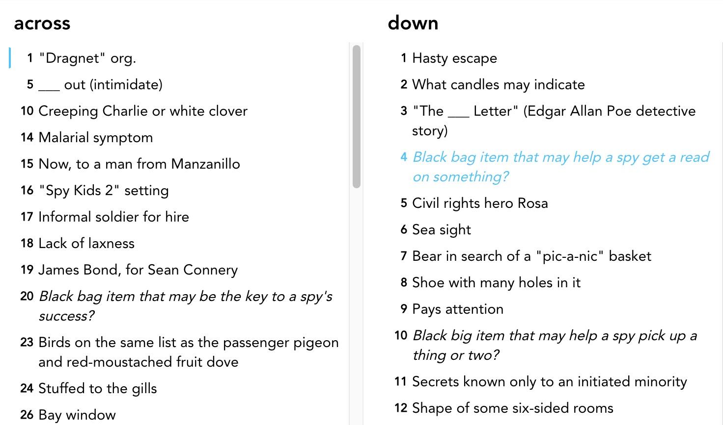 Clues to the Black Bag Job Crossword Puzzle