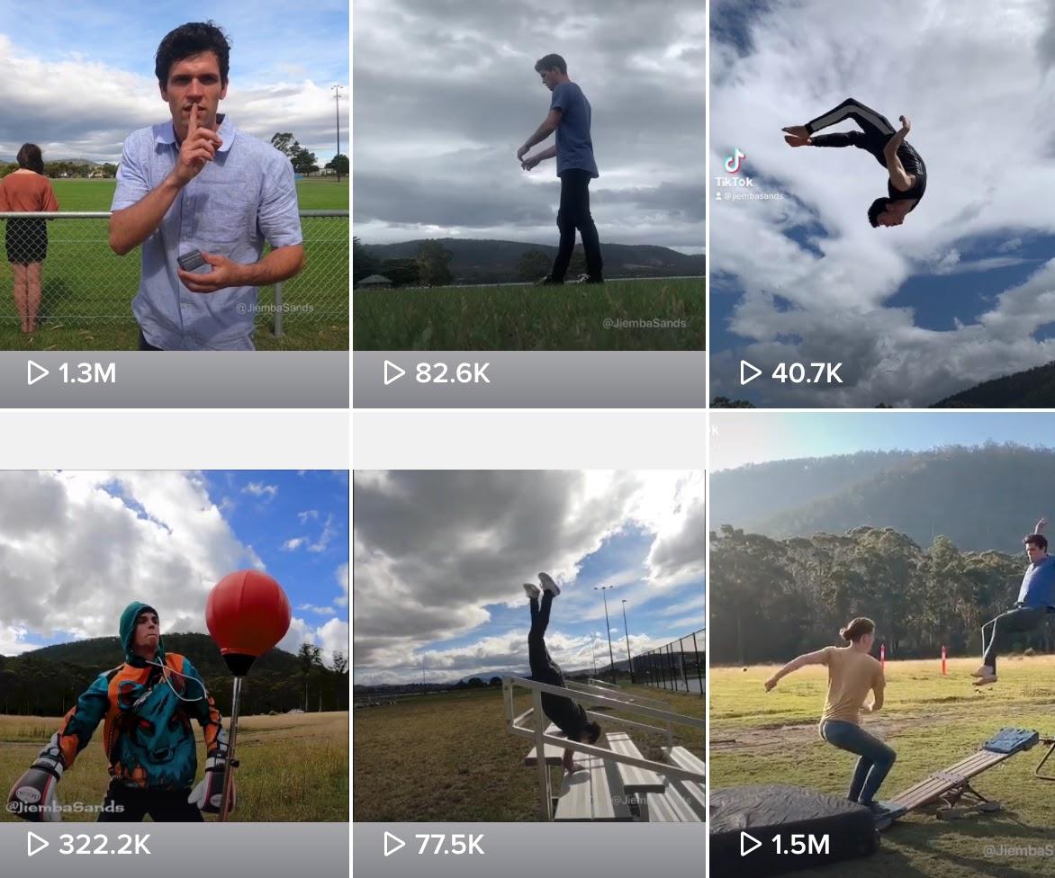 Jiemba Sands' acrobatic stunts