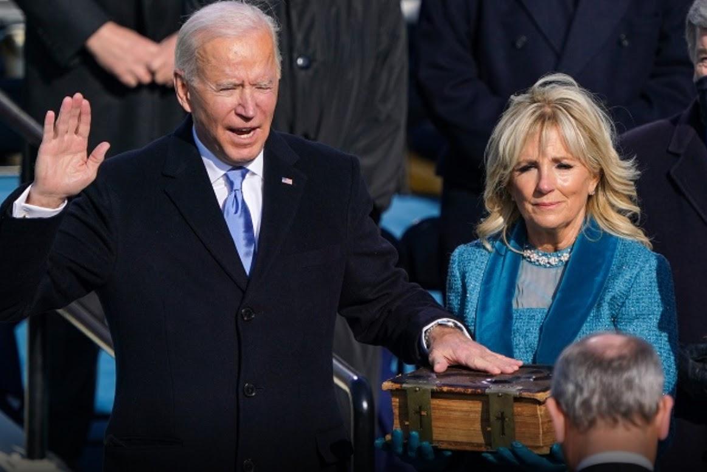 US President Joe Biden is sworn in, January 2021