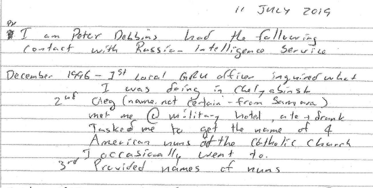 Peter Debbins' confession