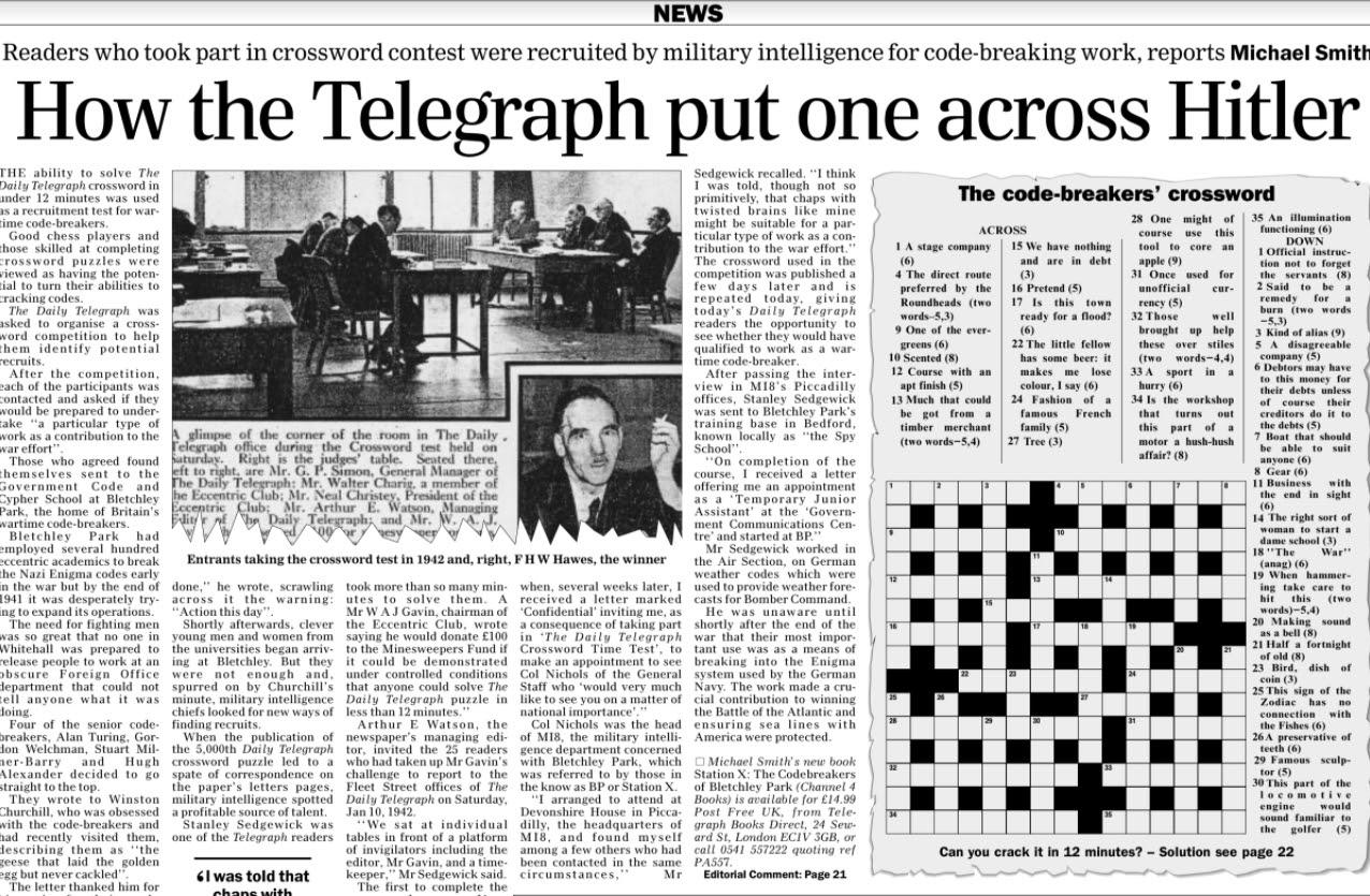 Telegraph crossword puzzle