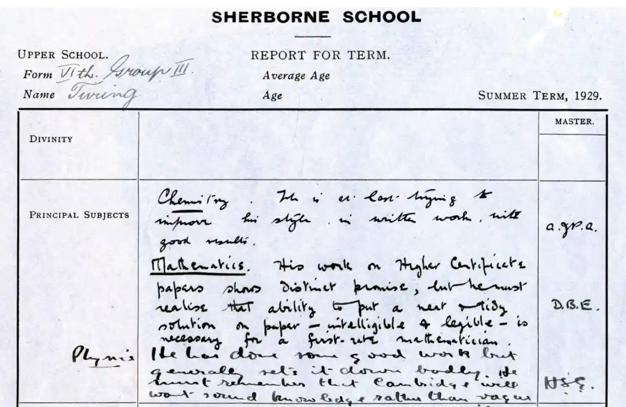 Turing's report card