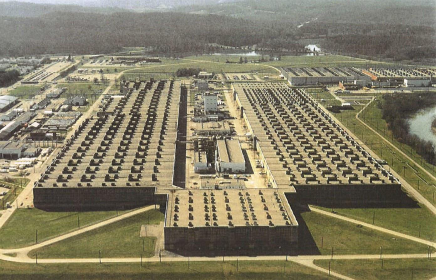 The K-25 uranium enrichment plant at Oak Ridge, Tennessee