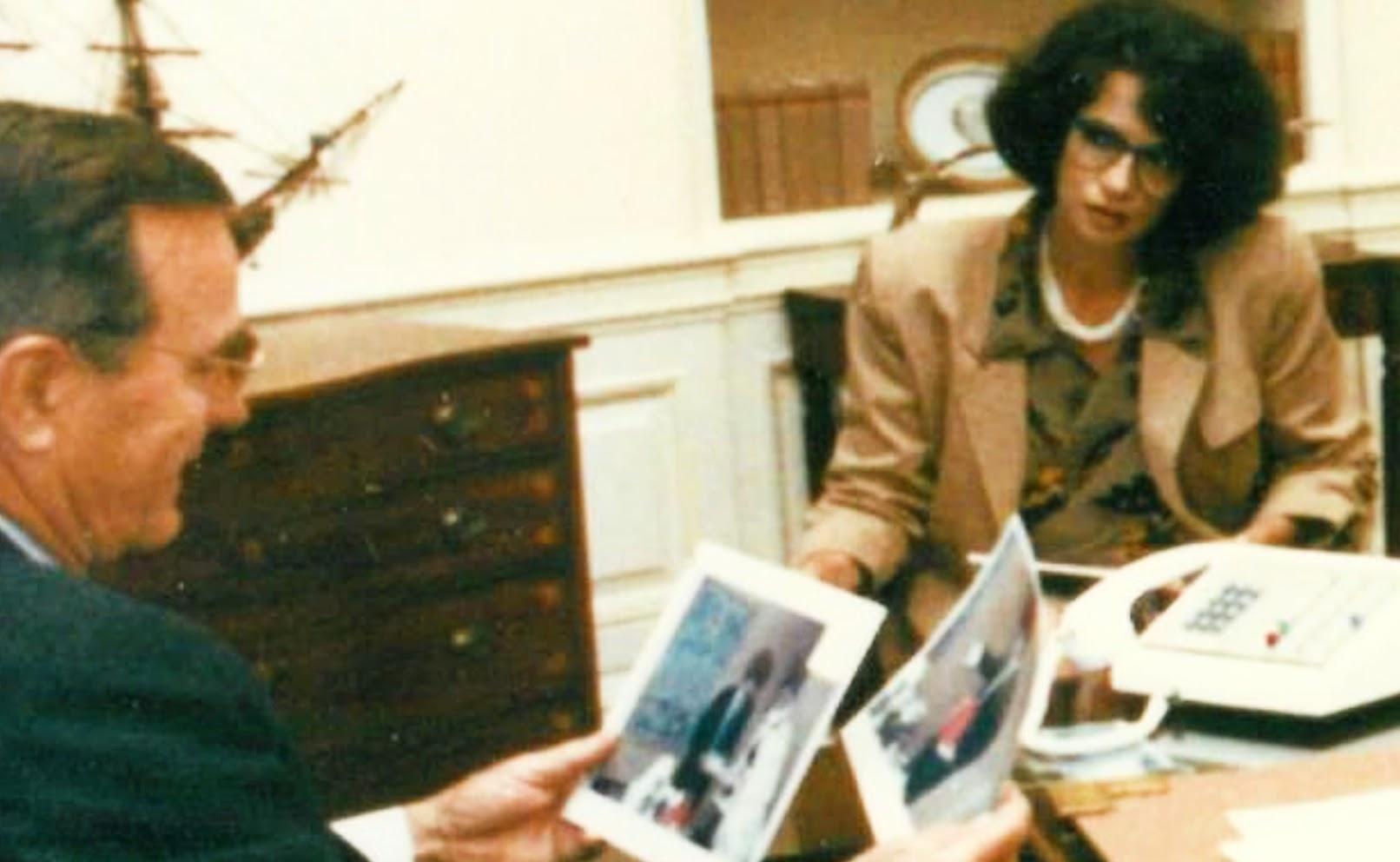 Joanna Mendez with President Bush Sr