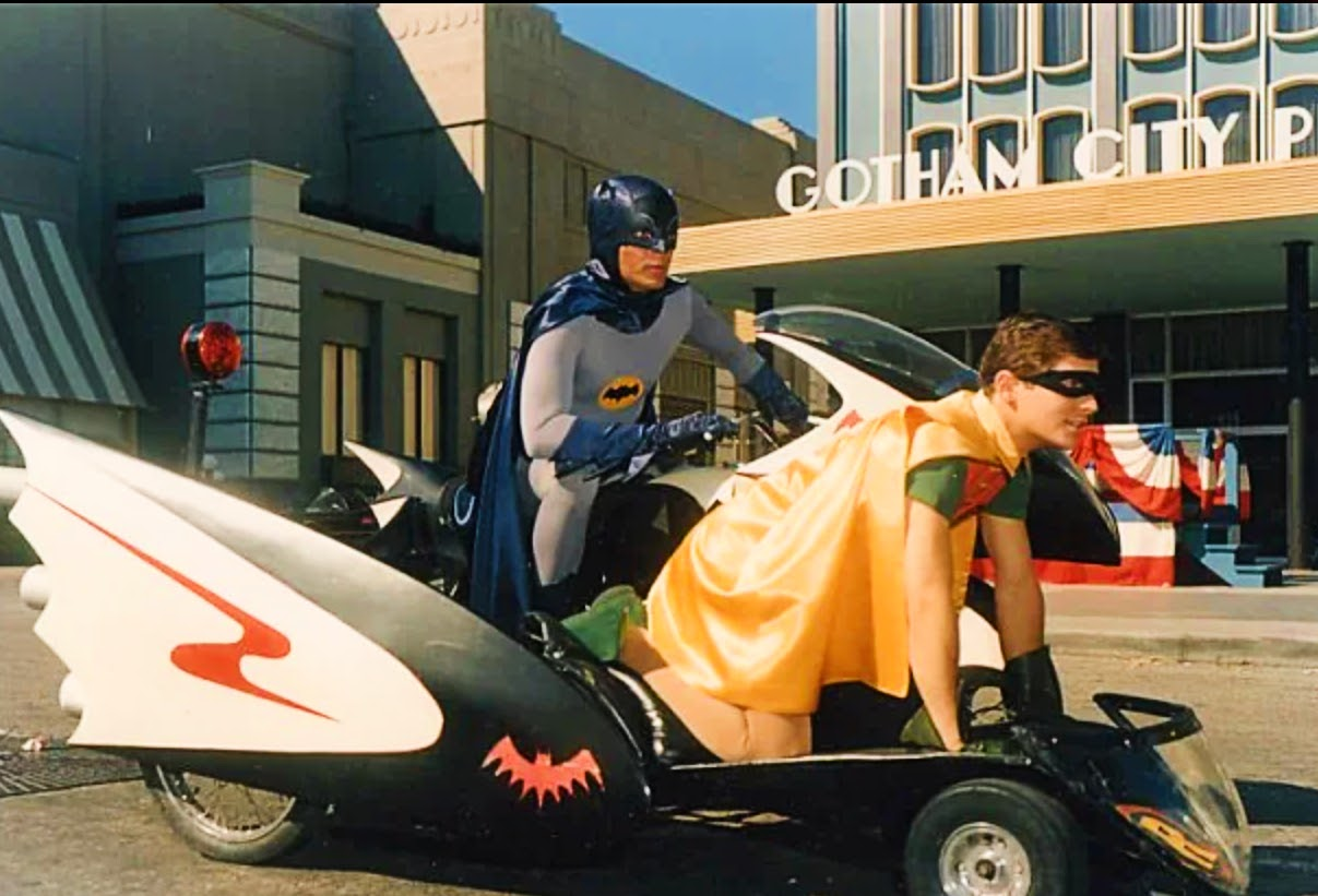 Batcycles with Batman and Robin