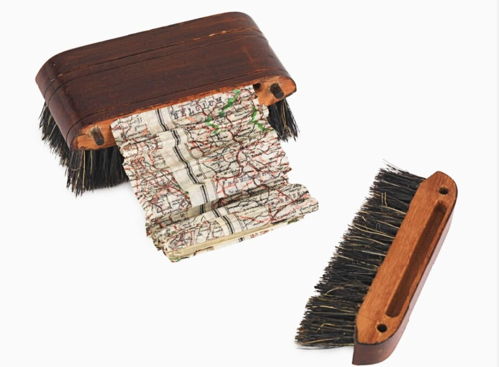 Hair brush hiding WWII map for escapee POWs