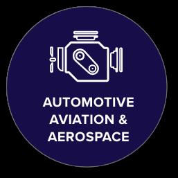 Automotive, aviation, and aerospace icon with engine