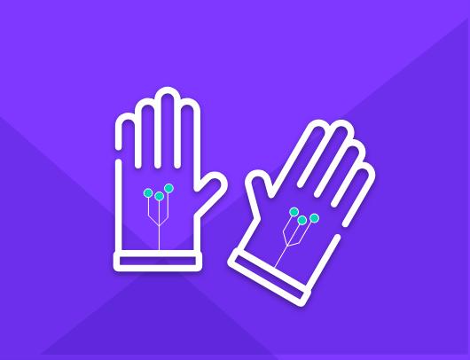 exoskeleton, smartwatch, and biometric icon with haptics/exoskeleton gloves graphic