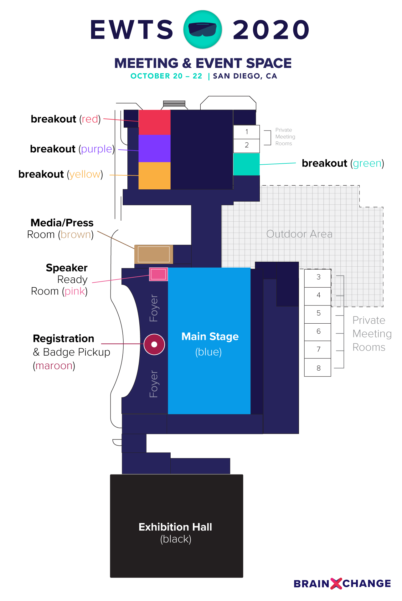 floorplan of the EWTS 2020 meeting and event space