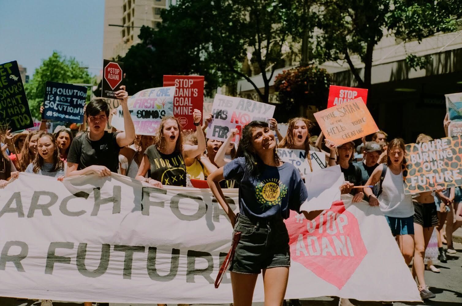 "Grace leads ""March for Our Future"" contingent at Stop Adani protest"