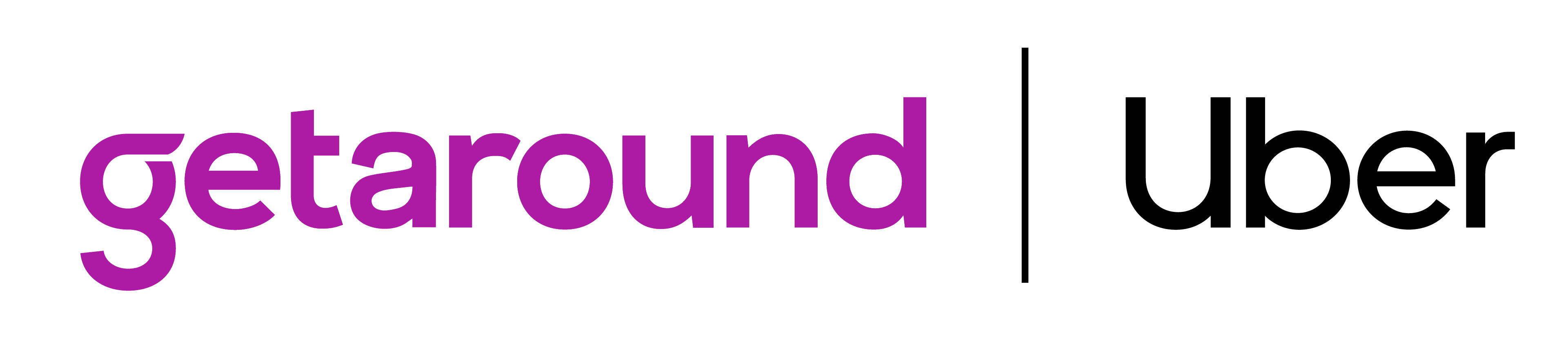 Purple Getaround logo and black Uber logo