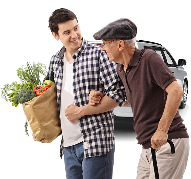 Grandson with Getaround® shared car taking grandpa shopping