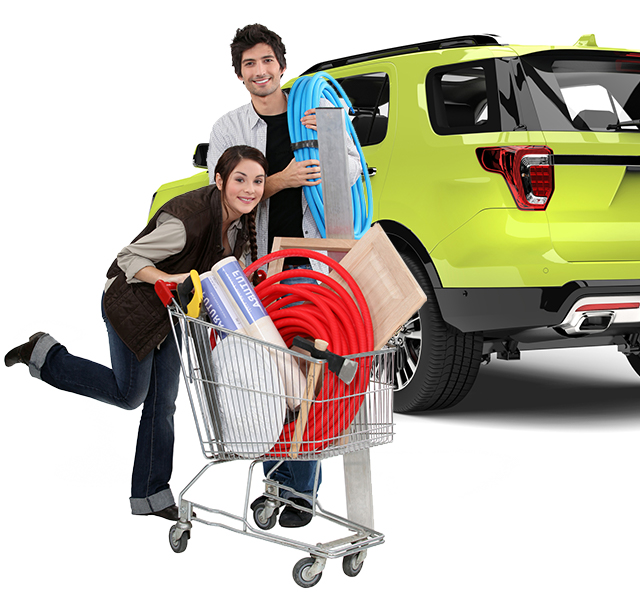 Young couple shopping for DIY with shared Getaround® car