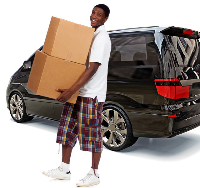 Guy with moving boxes and shared Getaround® van.