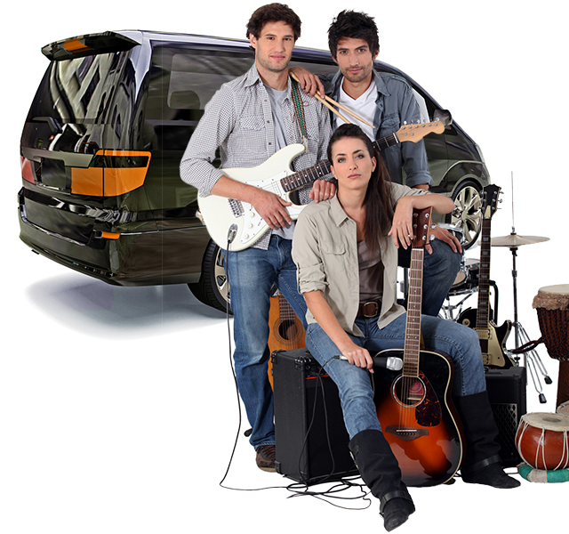 Band with their equipment and shared Getaround® van.