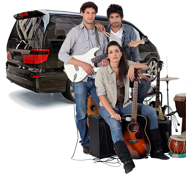 Band and gear with Getaround® shared van