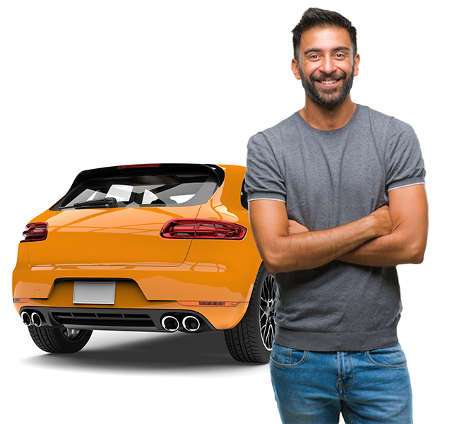 Latino man in front of shared Getaround® car