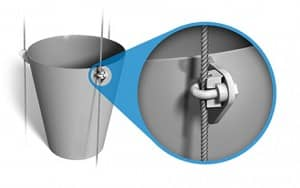 Typical cables on a spout are guided by a u-bolt and nut harness, which has several pieces that can become loose over time and fall into the material stream.