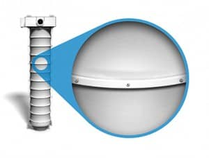 Typical spout support rings are fastened together by rivets or screws that can deteriorate and contaminate the material load.
