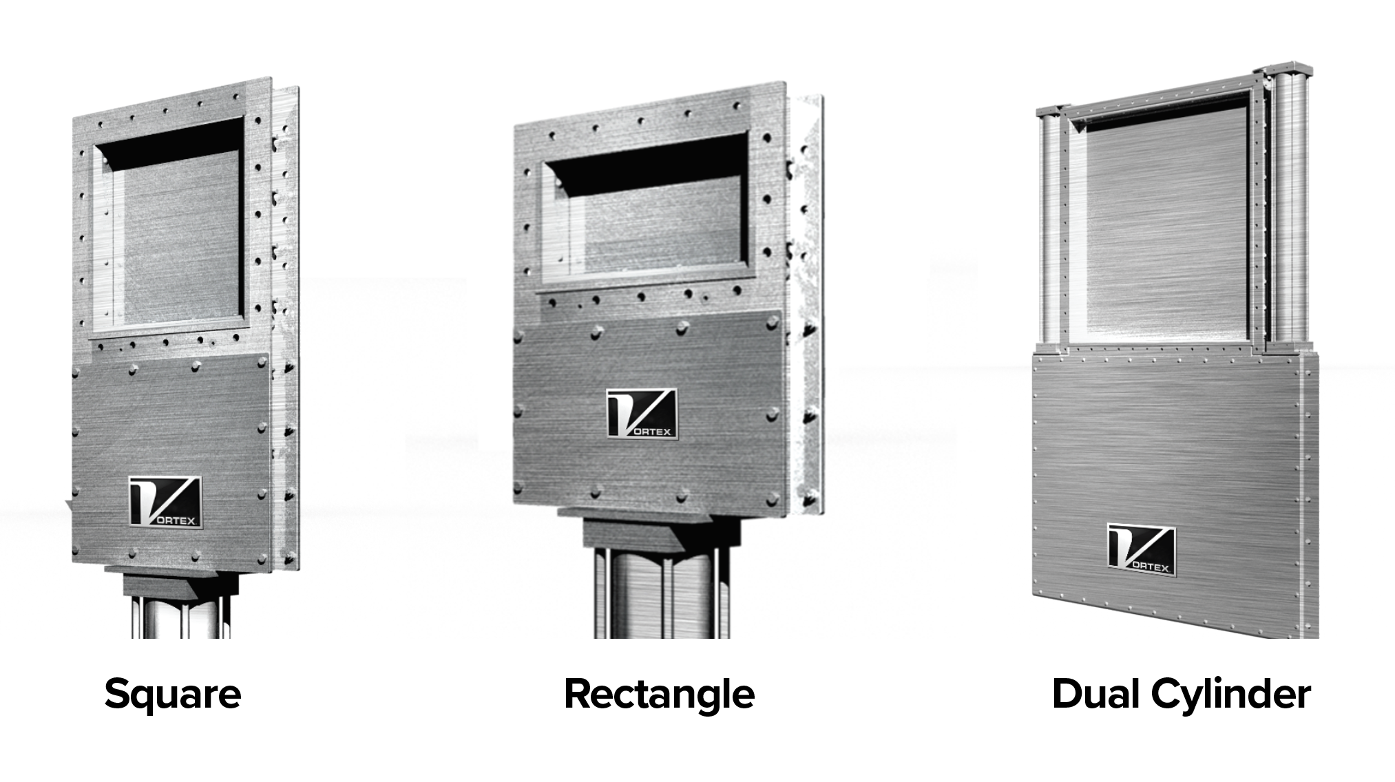 Roller Gate options. 1. Square, 2. Rectangle, 3. Dual Cylinder