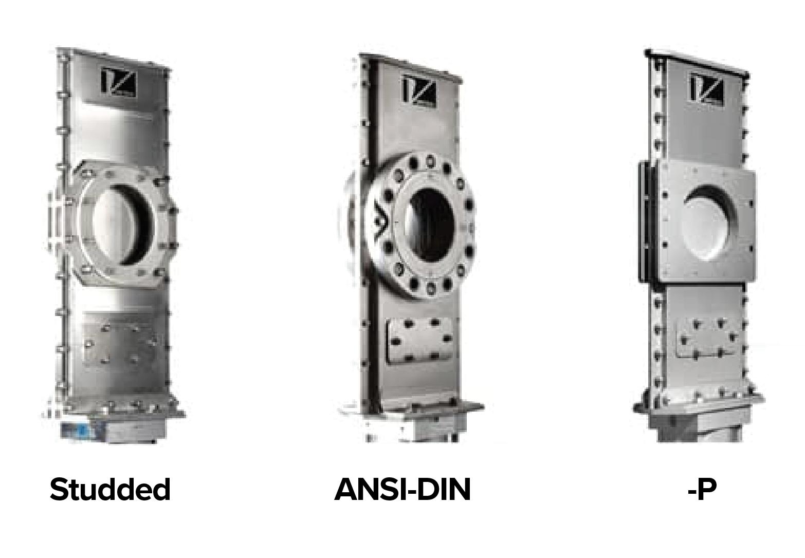 Three options for a Vortex Orifice Gate. 1. Studded, 2. ANSI-DIN, 3. -P