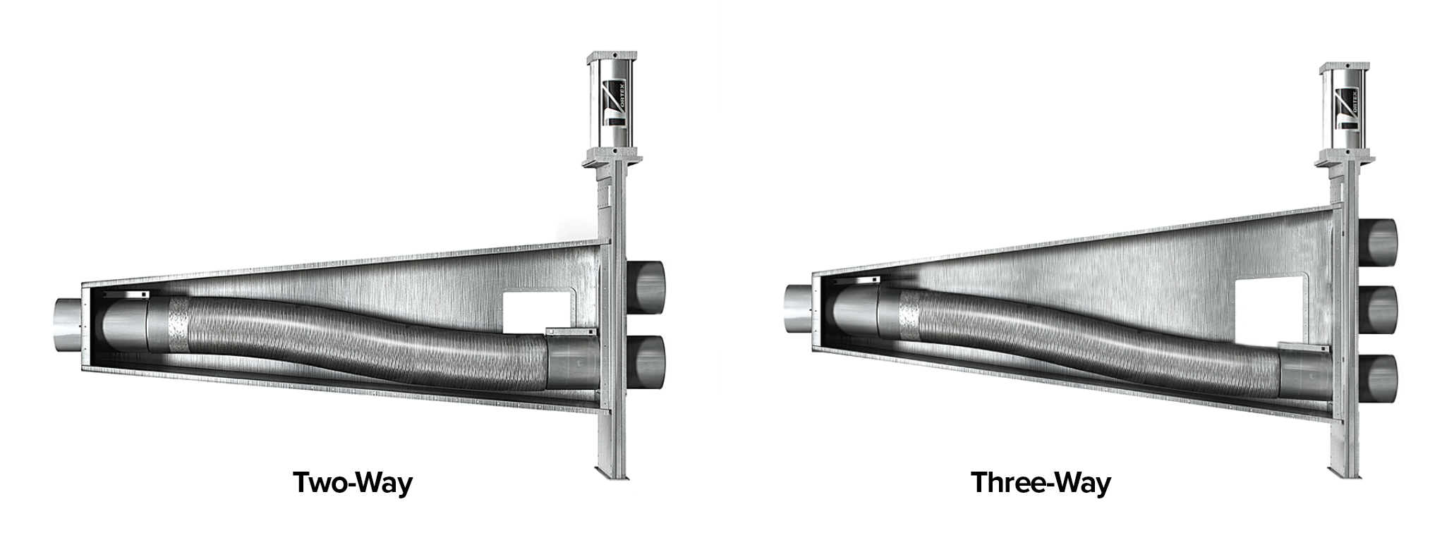 Two-way and three-way options available for the Flex Tube Diverter.