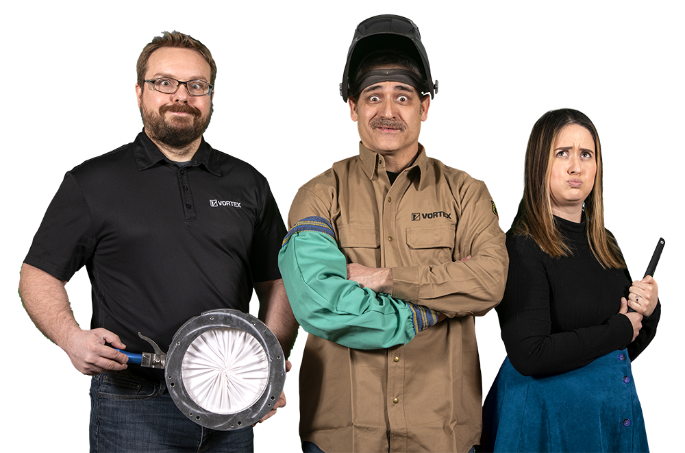 Three employees from the Vortex team with expressive faces