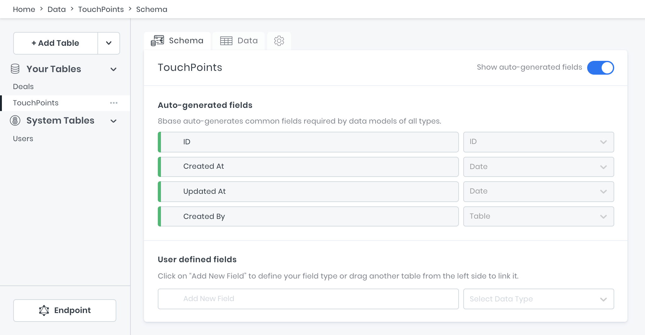 Empty tables Deals and Touch Points for Custom CRM project