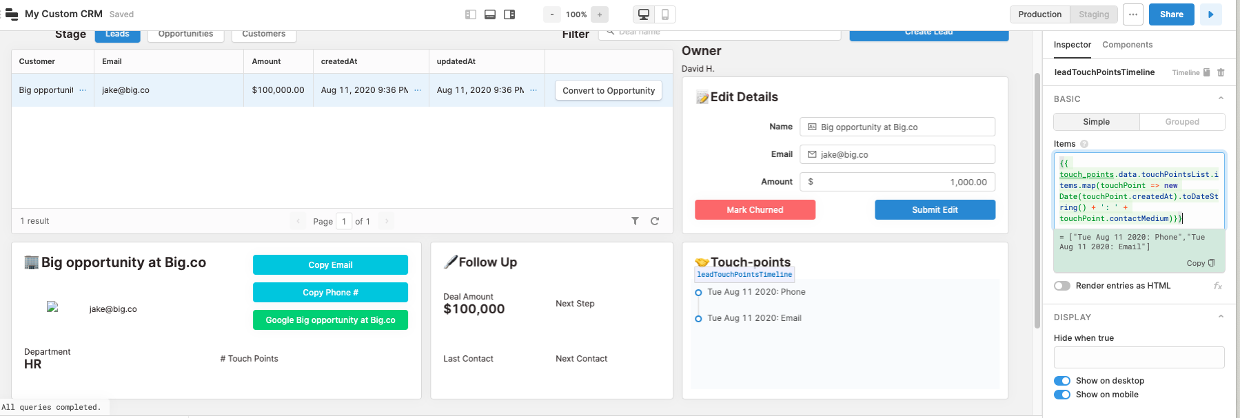 touch points for custom CRM