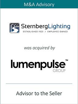 PRAIRIE REPRESENTS STERNBERG LIGHTING IN ITS SALE TO LUMENPULSE GROUP