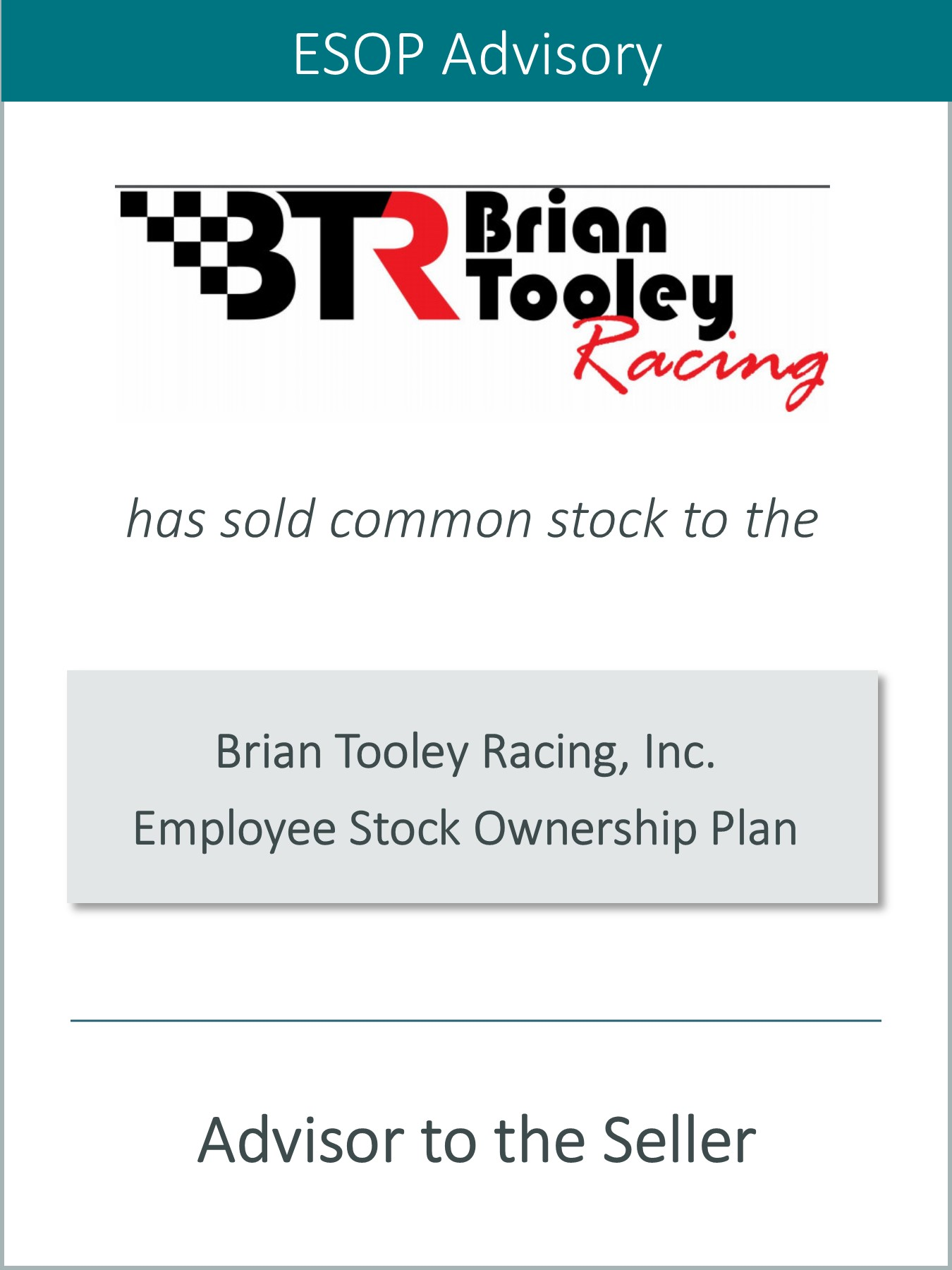 PRAIRIE ANNOUNCES THE SALE OF BRIAN TOOLEY RACING TO AN ESOP
