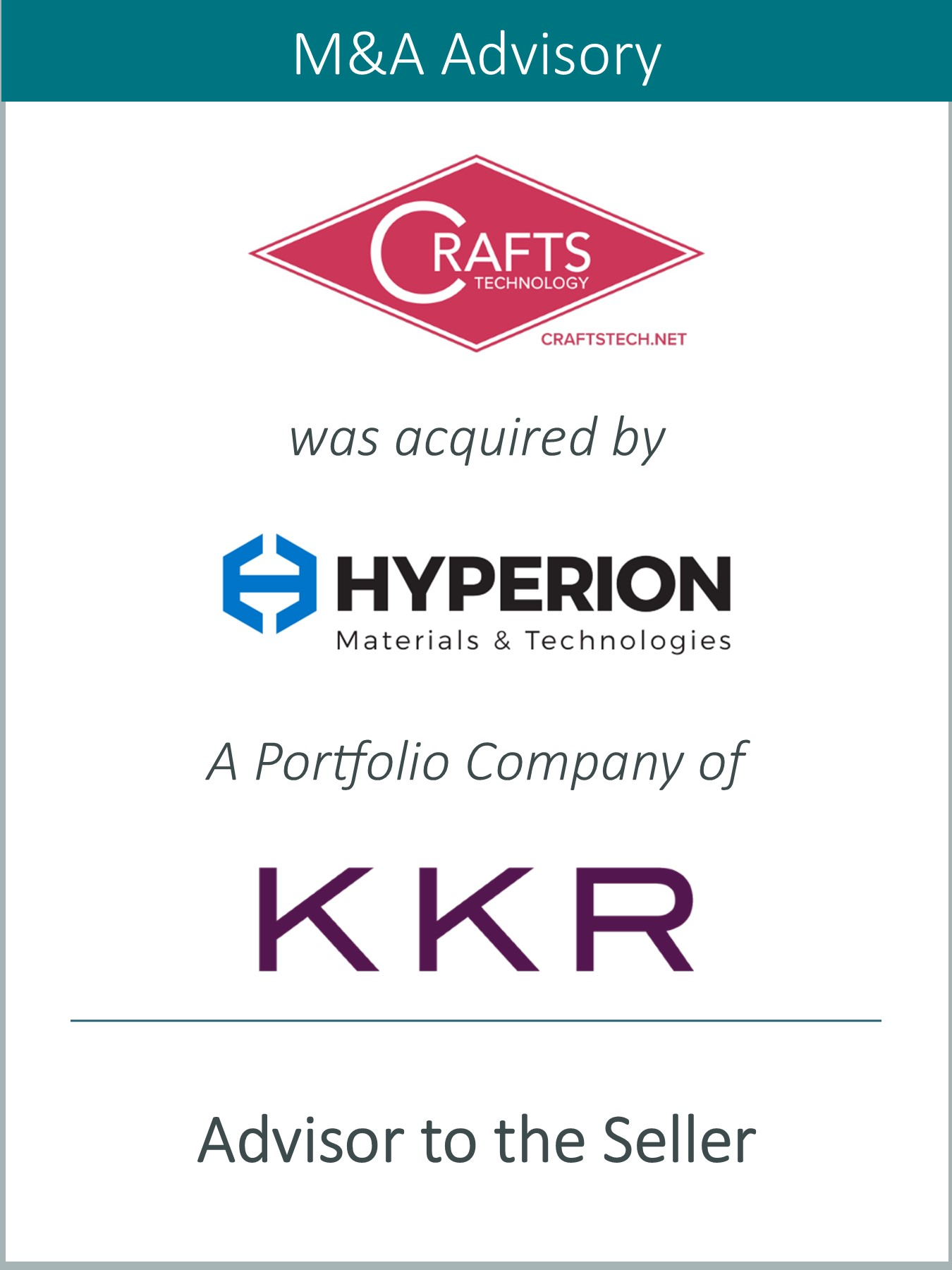 Prairie Represents Crafts Technology in its Sale to Hyperion Materials & Technologies