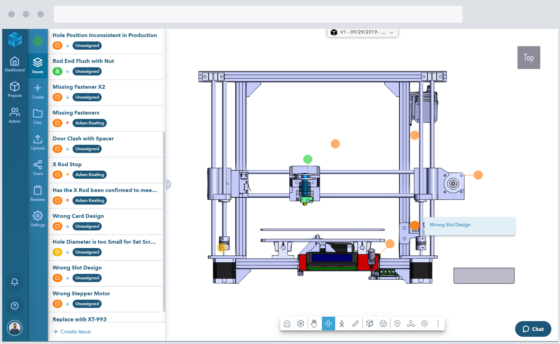 Screenshot of a cross section view of a mechanical design CAD model in the Gradient design review software