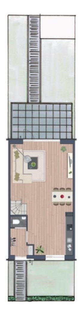 Basis tuin ontwerp tussenwoning