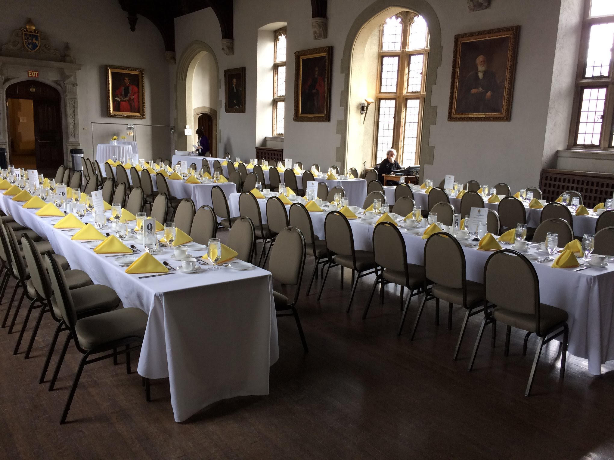 A decorated banquet hall