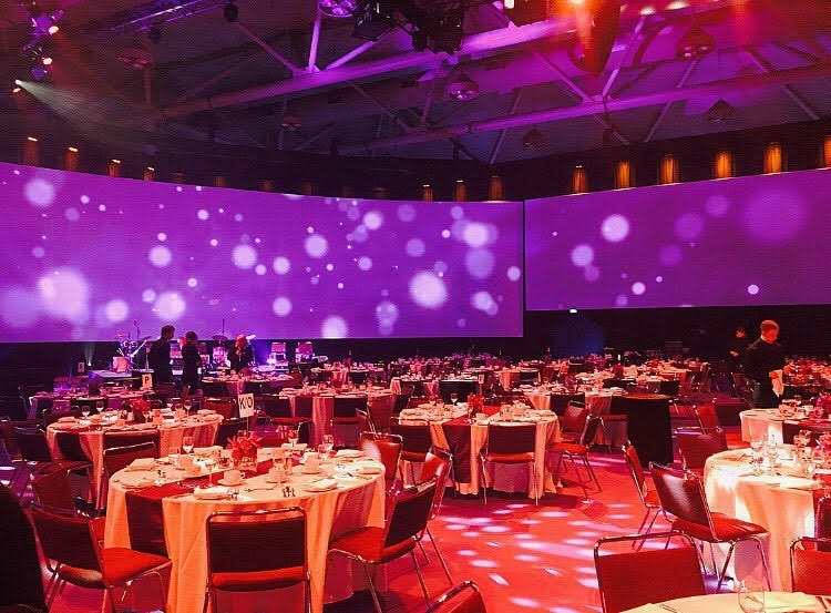 A decorated banquet hall for corporate event