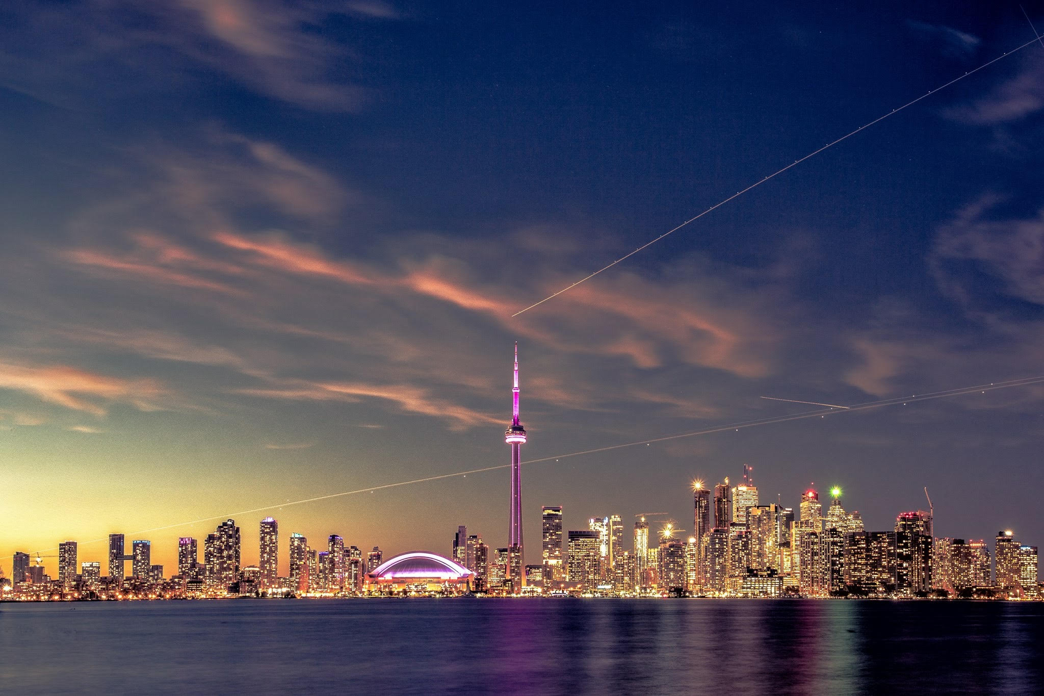Toronto downtown night view