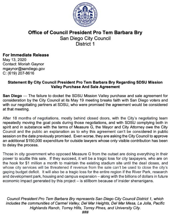 Bry Statement on SDSU West 5-13